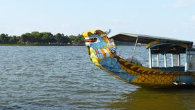 Free Hue, Vietnam, September 20, 2019: Tourist Attraction Dragon Boat Floating On Smooth Surface Of HOUNG River, The PERFUME RIVER In Stock Photo - 167279280