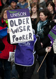 Huelga BRITÁNICA de las pensiones Fotografía de archivo libre de regalías