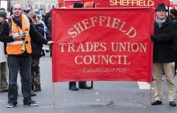 Huelga de las pensiones de Sheffield Imagen de archivo libre de regalías
