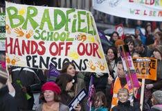 Huelga de las pensiones de Sheffield Imagenes de archivo