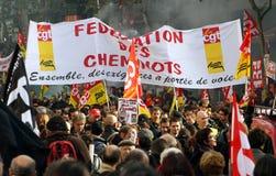 Huelga del retiro en París Imágenes de archivo libres de regalías