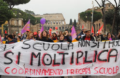 Huelga el 12 de marzo de 2010 de la escuela de Italia Foto de archivo