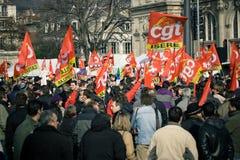Huelga francesa de los trabajadores Imagen de archivo libre de regalías