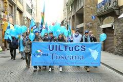 Huelga general en la 12ma de diciembre de 2014 en Florencia, Italia Foto de archivo libre de regalías