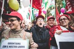Huelga nacional del turismo en Milán en octubre, 31 2013 Imagen de archivo libre de regalías