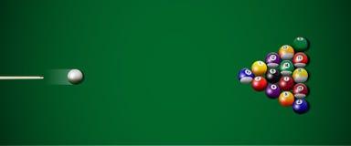 Huelga realista del billar del vector en fondo verde ilustración del vector