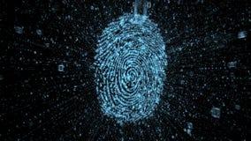Huella dactilar de Digitaces con las corrientes de los datos binarios que ilustran concepto de seguridad en línea stock de ilustración