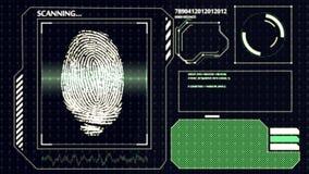 Huella dactilar humana de exploración Interfaz HUD Fondo de la tecnología Fotografía de archivo