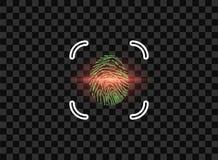 Huella dactilar, identificación electrónica con el marco, exploración del laser computadora portátil moderna aislada en el fondo  libre illustration