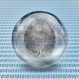 Huella dactilar y código binario Imagenes de archivo