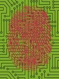 Huella dactilar roja en placa de circuito ilustración del vector