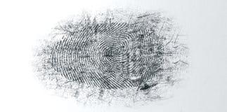 Huella dactilar sacada el polvo de la escena del crimen foto de archivo libre de regalías
