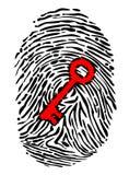Huella dactilar y llave Fotografía de archivo libre de regalías