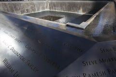Huella de la cascada de WTC, monumento nacional del 11 de septiembre, New York City, Nueva York, los E.E.U.U. Imágenes de archivo libres de regalías