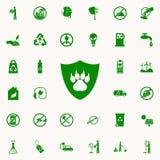 huella de un animal en un icono del verde del escudo sistema universal de los iconos de Greenpeace para el web y el móvil libre illustration