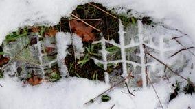 Huella de una bota en la nieve, hojas finas y la hierba mostrando a través del modelo de la pisada Fotos de archivo libres de regalías