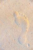 Huella del pie derecho del hombre en la arena ligera de la playa, México 2015 Imagen de archivo