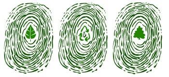 Huella digital con símbolos del ambiente Imágenes de archivo libres de regalías