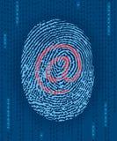 Huella digital de Digitaces con la marca del email Foto de archivo libre de regalías