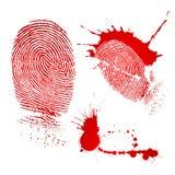 Huella digital y gotas de sangre Imágenes de archivo libres de regalías