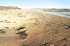 Huella en el beachsand Foto de archivo libre de regalías