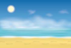 Huella en la arena Pasos de progresión en la playa Fondo con el mar y el cielo azul Ilustración del vector Foto de archivo