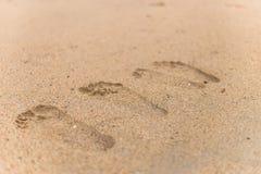 Huella en la arena en la playa Fotografía de archivo