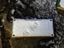 Huella en la losa de piedra Foto de archivo