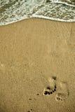 Huella en la playa Fotografía de archivo libre de regalías