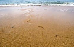 Huella en la playa Foto de archivo