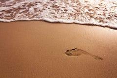 Huella en la playa Foto de archivo libre de regalías