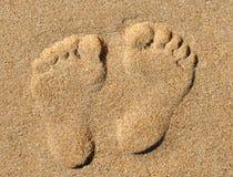 Huellas de la playa Imagenes de archivo
