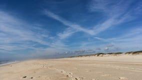 Huellas de siguiente en orilla de la playa almacen de video