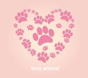 Huellas del animal del corazón Fotografía de archivo