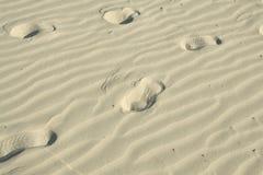 Huellas en la arena ondulada Imágenes de archivo libres de regalías
