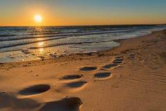 Huellas en la arena en la puesta del sol foto de archivo libre de regalías