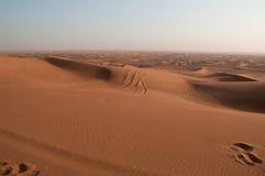 Huellas en la duna de arena en al Khali, United Arab Emirates de la frotación ' foto de archivo libre de regalías