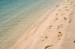 Huellas en la playa arenosa Foto de archivo libre de regalías