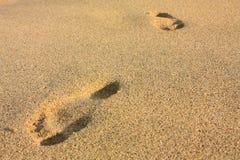 Huellas en una playa. Tayrona, Colombia Imágenes de archivo libres de regalías