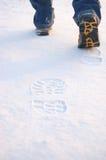 Huellas frescas de cargadores del programa inicial del hombre en nieve imagen de archivo libre de regalías