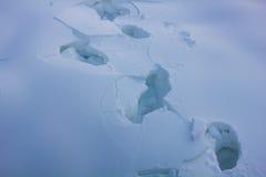 Huellas humanas en la nieve Foto de archivo libre de regalías