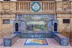 Huelva Province, Glazed tiles bench at Spain Square, Seville Royalty Free Stock Image
