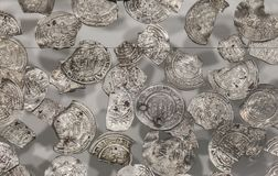 Vilaplana Hoard. Caliphal Period silver coins and fractions. Huelva, Spain - July 7th, 2018: Vilaplana Hoard. Caliphal Period silver coins and fractions. Huelva stock images