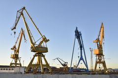 Cranes in port of Huelva Spain stock photo