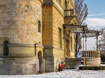 Huenegg castle in winter at lake Thun, Switzerland royalty free stock image