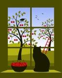 Huerta de cereza fuera de la ventana Foto de archivo libre de regalías