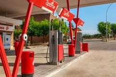 Detail of a CEPSA gas station on a small country road. Huesca, Spain - June 21, 2017 : detail of a CEPSA gas station on a small country road with its price royalty free stock image