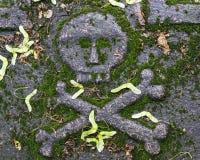 Huesos del cráneo y de la cruz en la piedra sepulcral Foto de archivo libre de regalías