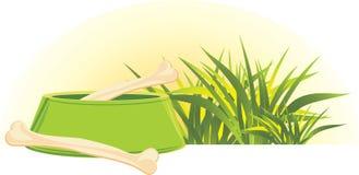 Huesos en un tazón de fuente y una hierba verdes del perrito Fotografía de archivo libre de regalías
