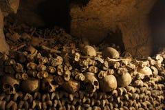 Huesos y cráneos llenados en las catacumbas de París Imagenes de archivo